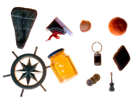 Fanciful close-up of various objects isolated on white background photo