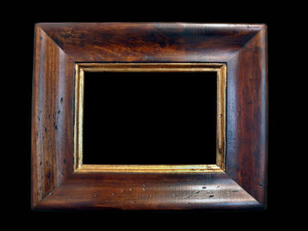 picture frame on wall: A wood old frame on a black background