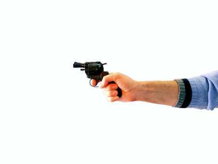 Male hand drawing a gun isolated on white Stock Photo - 4423469
