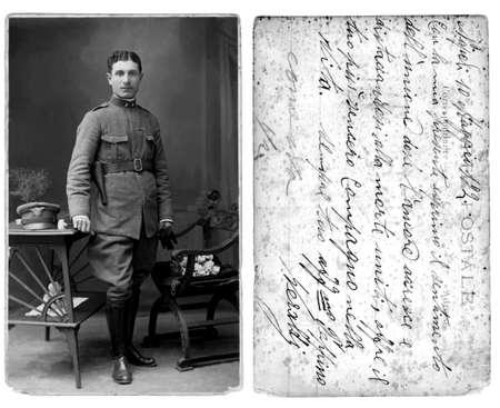 Antieke postsector kaart foto uit later 1915s met originele bericht (stof en krassen zijn links te tonen leeftijd) Stockfoto