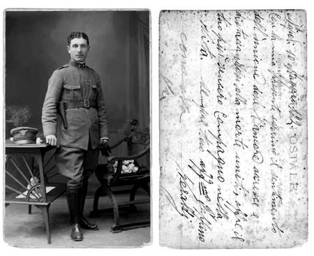 Antique postal card photo from later 1915's with original message (dust & scratches were left to show age)