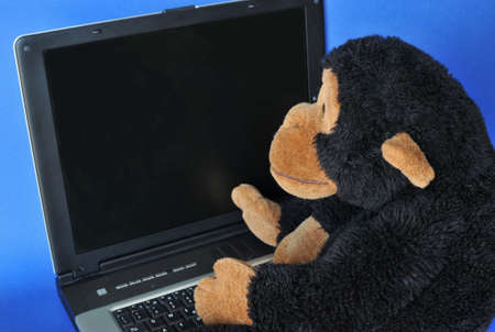Close-up of a stuffed monkey sitting on a portable computer  Stock Photo - 4515704