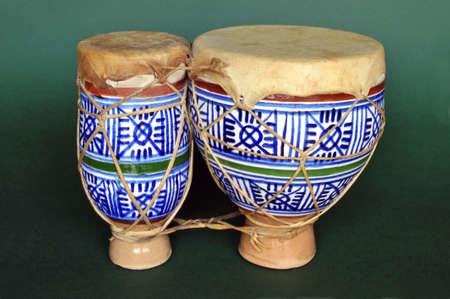 bongos: Small ceramic bongos from Morocco over green