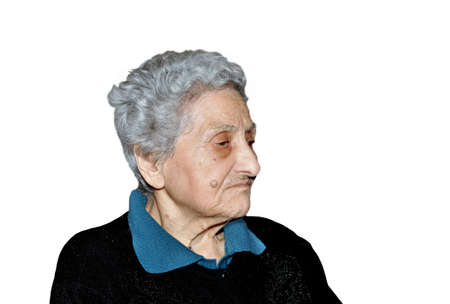 gerontology: Portrait of a woman in her nineties on white background Stock Photo