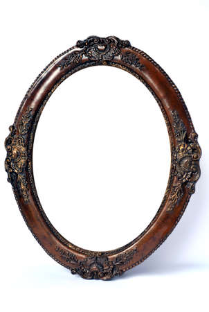 Old-style oval wood frame on white Stock Photo