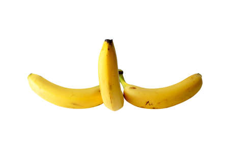 Bunch of bananas with one erected isolated over white