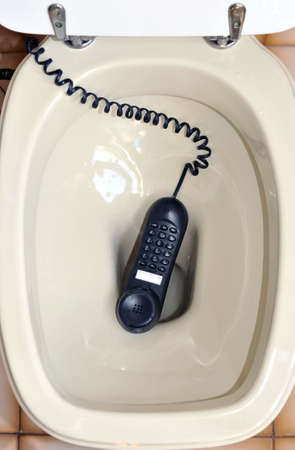 A telephone left in the toilet photo