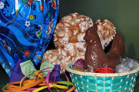 incubate: Easter cake with big egg and chocolate chick figure Stock Photo