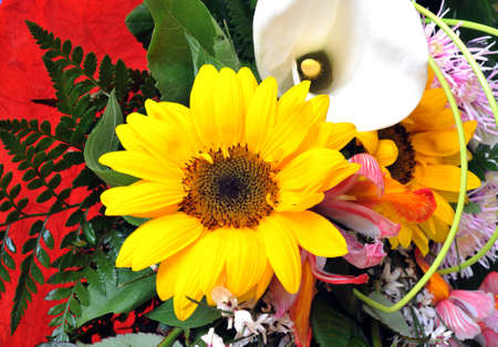 Detail of a Sunflower as part of a bouquet photo