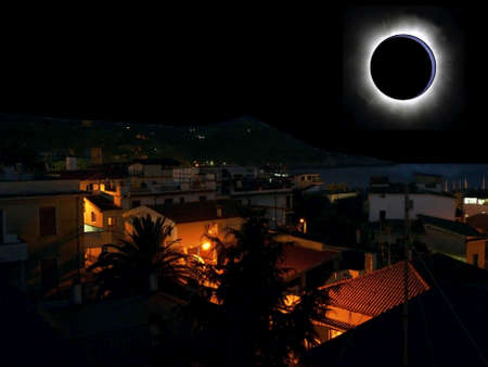 Abstract: town beneath eclipse photo