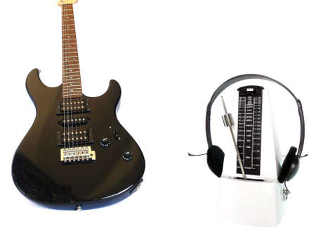 Electric Guitar with Metronome and headphone Stock Photo - 5079551