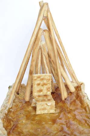 breadsticks: Funny adorno, galletas y pan de hojaldre rellenas Foto de archivo