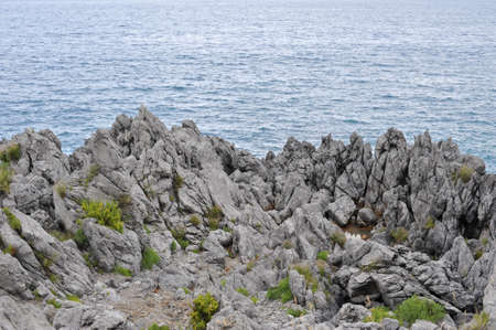 Detail of  jagged sea cliff along Cilento coast, Italy Stock Photo - 5424311