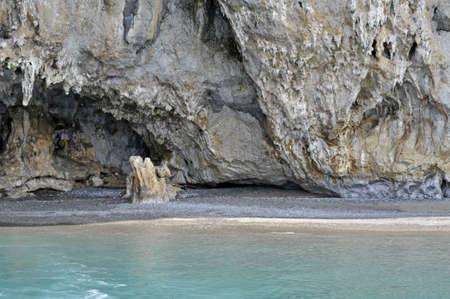 palinuro: Rock face and reef  along the seacoast, Palinuro, Italy