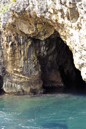 palinuro: Cave inside the sea cliff along Palinuro seacoast, Italy
