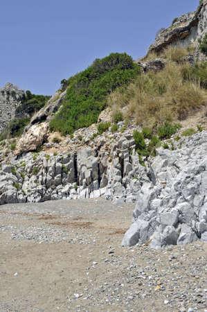palinuro: Lonely rocky beach along Palinuro seacoast, Italy