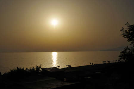palinuro: Scenic sunset over the beach with horizon in background, Palinuro, Italy