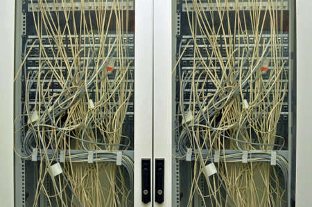 Detail of a LAN switches panel control photo