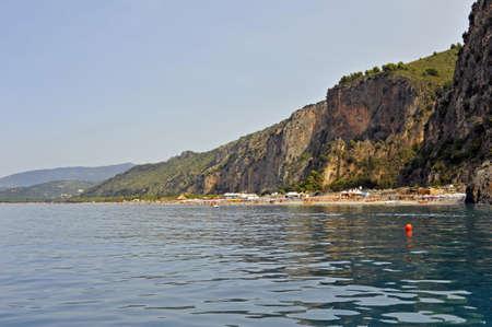 soften: Scenic headland soften towards the coast, Marina of Camerota, Italy