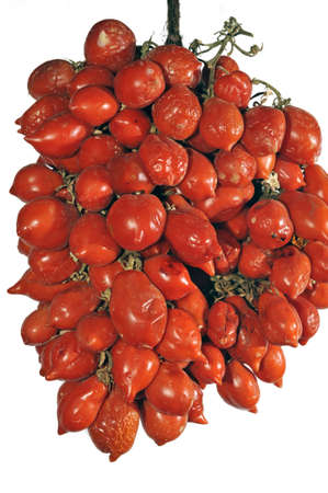 perishable: Autumn time: hanging bunch (piennolo) of tied Neapolitan tomatoes Stock Photo