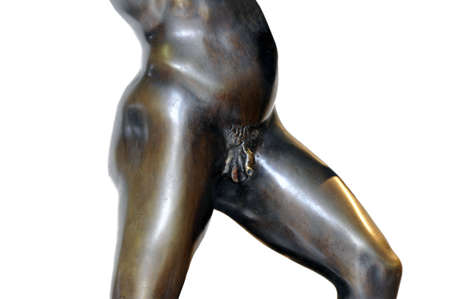 manhood: Detail of male pubes of a nude bronze sculpture