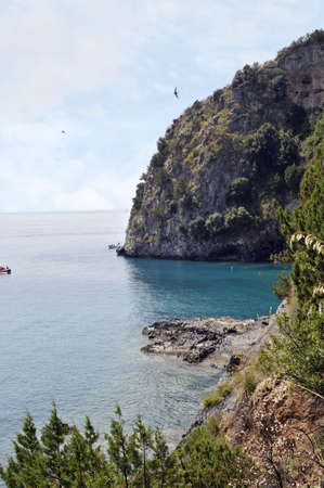 palinuro: Picturesque tract of coast with rocks and caves, Palinuro, Italy Stock Photo