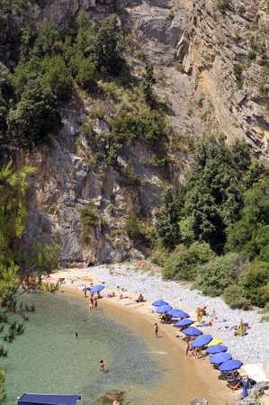 palinuro: Heavenly coastline with beaches among mount, Palinuro, Italy Stock Photo