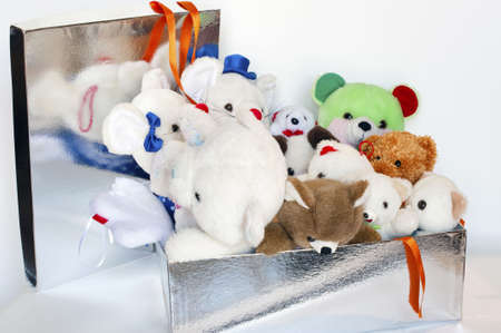 Gift-wrapped package with many teddy bears inside Stock Photo - 5896105