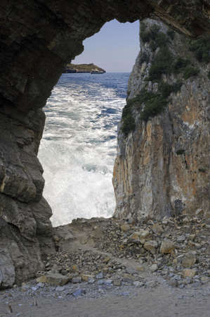 palinuro: Ocean foreshortening through a cave, Palinuro, Italy Stock Photo