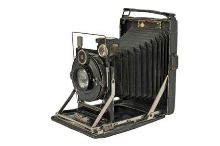 Oude fotografische camera met lens van balg over Wit