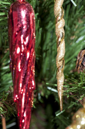 Detail of coloured cones hanging on the Christmas tree Stock Photo - 6063653
