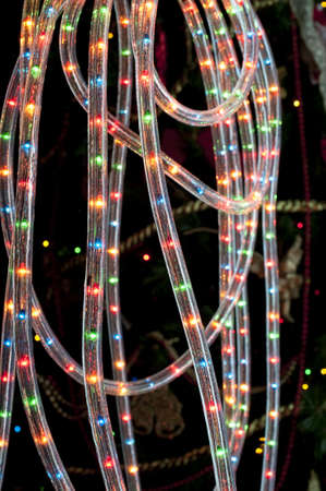 leds: Detail of a tube rope with colored LED for decorate switched on