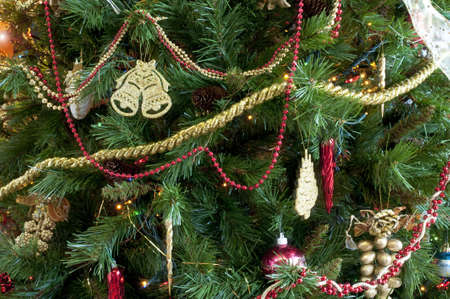 Detail of a decorated Christmas tree in horizontal photo
