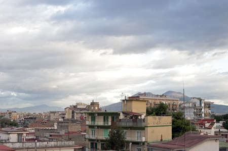 periphery: Landscape with sky and buildings in front of Vesuvius, Naples suburb, Italy