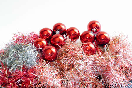 Isolated red Christmas balls and tinsel Stock Photo - 6063764