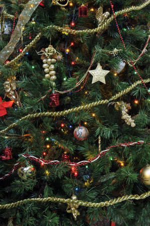 gewgaw: Detail of an evergreen decorated Christmas tree at home