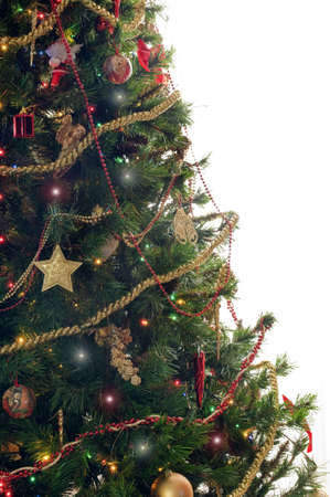 gewgaw: Half decorated Christmas tree on white background