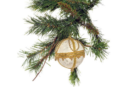 Decorative Christmas ball hanging on the Christmas tree photo
