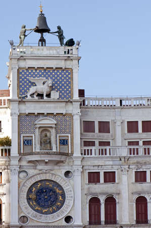 venician: Tower with astronomical clock at San Marco Square in Venice, Italy