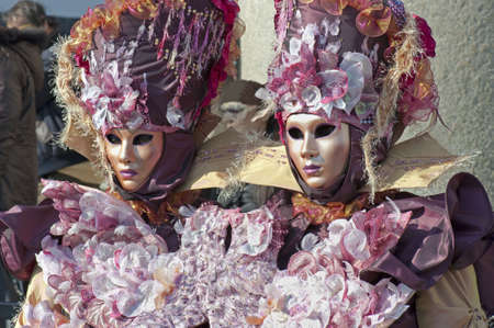 carnevale: Two ladies with carnival suit for Venice carnival 2010, Italy (horizontal) Stock Photo