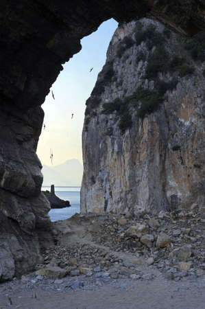 palinuro: Ocean foreshortening view through a cave, Palinuro, Italy