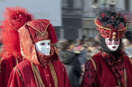 carnevale: Couple in red carnival suit for Venice carnival 2010, Italy