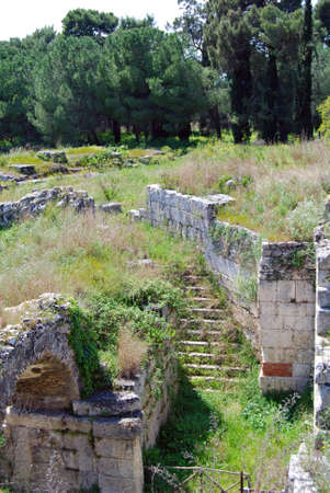 weatherworn: Detail of Roman and Greek ancient ruins in Syracuse, Sicily