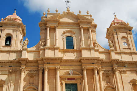 ade: Fa�ade of the Cathedral of St. Nicholas of Myra (finished 1776) in Noto, Sicily Stock Photo