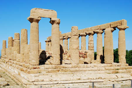 Temple of Juno Lacinia, built in the 5th century BC, is in the most panoramic position in the valley of Temples and considered one of the most elegant monuments in the doric architecture. Stock Photo - 6924497