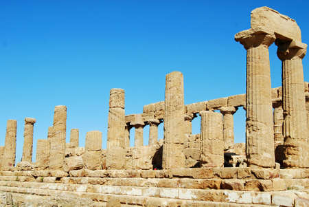 weatherworn: Temple of Juno Lacinia in the Valley Of Temples in Agrigento, Sicily