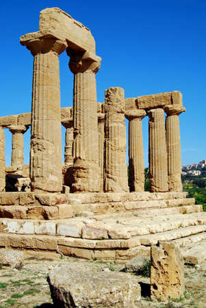 weatherworn: Detail of the Doric columns of the Temple of Juno in Agrigento, Sicily Stock Photo