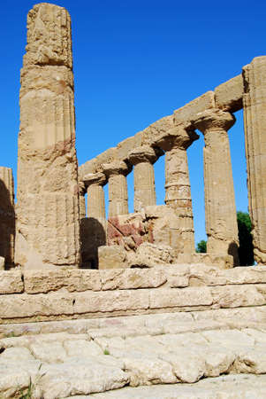 Detail of the Doric columns of the Temple of Juno in Agrigento, Sicily photo