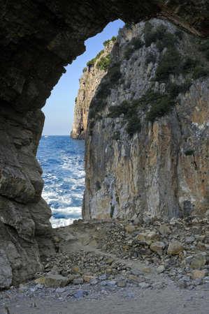 palinuro: Ocean viewed through a cave, Palinuro, Italy Stock Photo