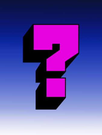 interrogativa: Resumen: Interrogativo gran marca aislado sobre fondo azul